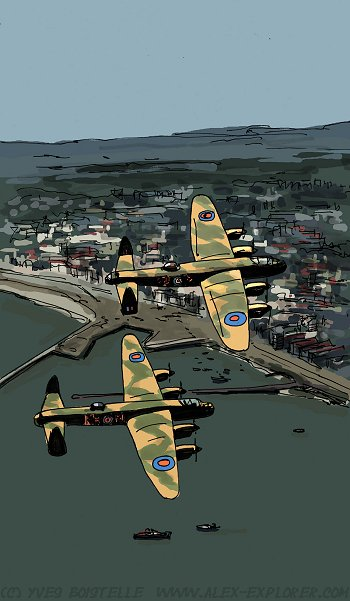 Lancasters attacking Le Havre by Yves Boistelle